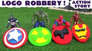 getlinkyoutube.com-Spiderman and Avengers Logo Robbery Play Doh Thomas The Tank Story | Ultron Hulk & Iron Man TT4U