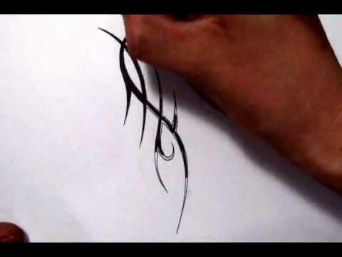 Drawing a Thin Sharp Tribal Tattoo Design