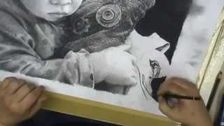 getlinkyoutube.com-Atelier Meijer - realistic pencil and charcoal drawing - portrait of lotte