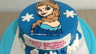 getlinkyoutube.com-Frozen Elsa Cake Buttercream Steam Transfer