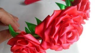getlinkyoutube.com-hand made Как сделать розу Канзаши_rose kanzashi
