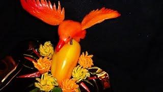 getlinkyoutube.com-Птица из перца! Bird of pepper! Decoration ov vegetables! Украшения из овощей!