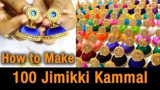 100 Jimikki Kammal   How to make Jimikki Kammal at home   silk thread jhumkas earring   DIY