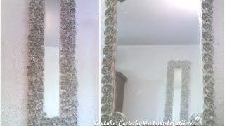 getlinkyoutube.com-Espejo decorado con tubos de cartón higiénico