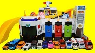 getlinkyoutube.com-꼬마버스 타요 긴급출동 센터 장난감 또봇 미니 카봇 로보카폴리 슈팅카 놀이 Tayo the little bus rescue center Toys