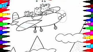 getlinkyoutube.com-PEPPA PIG Coloring Book Pages Kids Fun Art Activities For Children Learning Rainbow Colors Airplane