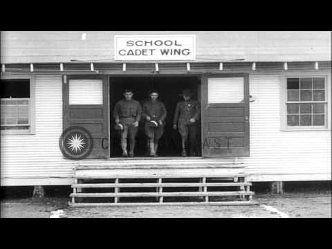 World War 1 US Army aviation cadets in a flight simulator, then receiving flight ...HD Stock Footage