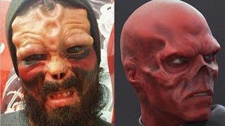 Man Cuts Off Nose & Tattoos Eyeballs To Look Like Red Skull