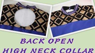 getlinkyoutube.com-How to make Back Open High Neck Collar