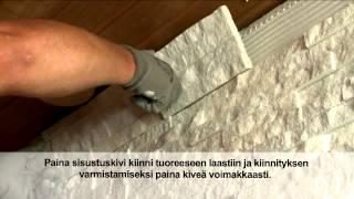 getlinkyoutube.com-Kiilto kiukaan taustan laatoitus / Tiling a wall behind sauna heater