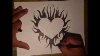 getlinkyoutube.com-How to Draw a Tattoo Heart- (By WIZARD)