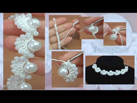How to Make Crochet Beaded Necklace Tutorial 135