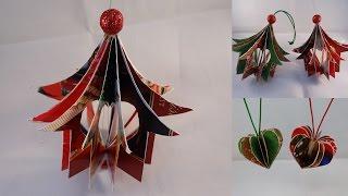 "getlinkyoutube.com-Recycled Christmas Card ""Heart House"" Ornament - with yoyomax12"