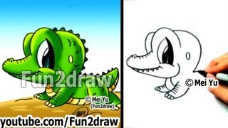 getlinkyoutube.com-How to Draw Cartoon Characters Easy - How to Draw a Alligator - Draw Animals - Fun2draw