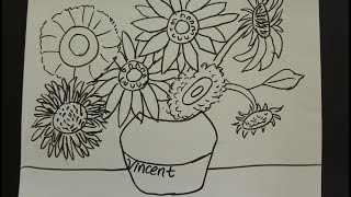 Kids Can Draw: Vincent Van Gogh Sunflowers  with First Grade Art Students.