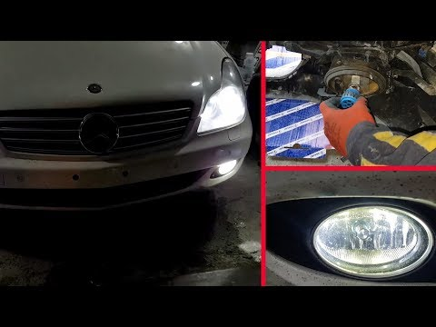 Mercedes CLS, W219/How to Install H11 fog lights & LED W5W T10 Parking Lights