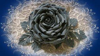 getlinkyoutube.com-DIY / Роза из  ткани /1 часть/ Мастер класс/ Роза из джинсовой ткани