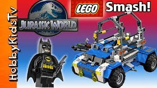 getlinkyoutube.com-JURASSIC WORLD TREX! Lego Tracker Build Kit 75918+ Batman Emmet Starlord Hunt By HobbyKidsTV