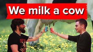 Chris and Johnny milk a cow using the Nintendo Switch