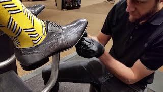 getlinkyoutube.com-Best shoe shine in Denver, lizard skin, ASMR