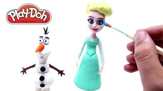 getlinkyoutube.com-Play Doh Frozen Stop Motion Elsa & Olaf! Playdough Animación de Disney Frozen