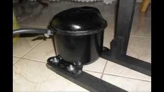 getlinkyoutube.com-Compressor de Ar Caseiro feito com motor de geladeira e cilindro R22, passo a passo.