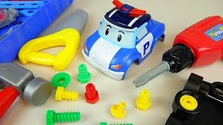 getlinkyoutube.com-Fix Poli and TOBOT car toys and Surprise eggs Kinder Joy toys