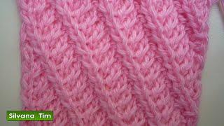 getlinkyoutube.com-Tutorial de tejido con dos agujas # 223. Punto (puntada) LINEAS en DIAGONAL.