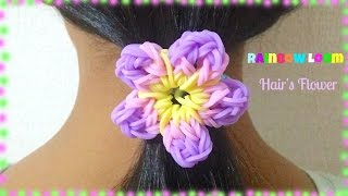 getlinkyoutube.com-Flor de elástico (sem tear) - Rainbow Loom Flower - レインボールーム - ファンルーム お花の作り方