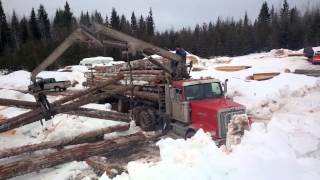 getlinkyoutube.com-Logs Arriving @ Mill with Self Load Log Truck 2 of 3