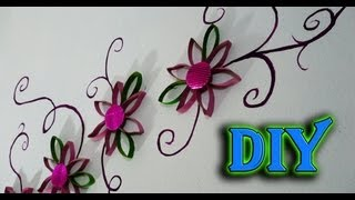 DIY ✄DECORA TU PARED CON FLORES ◘(RECICLANDO CARTONES DEL ROLLO DE PAPEL)◘