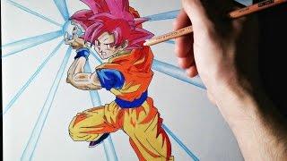getlinkyoutube.com-Cómo dibujar a Goku modo Dios | ArteMaster | How to draw Goku God Mode | Dragon Ball