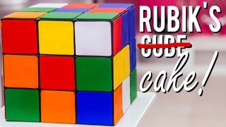 getlinkyoutube.com-How To Make A RUBIK'S CUBE CAKE! Vanilla Cake, Chocolate Ganache and Fondant!