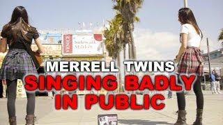 getlinkyoutube.com-Singing Badly in Public - Merrell Twins