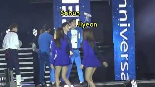 [HunJi] Sehun (EXO) Likes Jiyeon (T-ara)? [Dream concert 2016 MOMENTS]