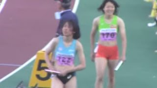 【土井杏南ごぼう抜き】2014関東インカレ陸上 女子4×100mリレー予選2組