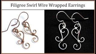getlinkyoutube.com-Easy Jewelry Tutorial : Simple Wire Wrapped Filigree Swirl Earrings