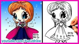 getlinkyoutube.com-How to Draw Disney Princesses & Characters - Inspired by Frozen Anna - Fun2draw cartoon