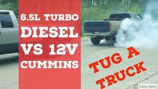getlinkyoutube.com-6.5 Turbo Diesel vs. 12 Valve Cummins Tug-a-truck