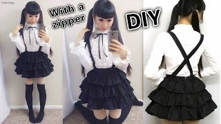 getlinkyoutube.com-DIY Easy Cosplay Japanese Uniform Inspired by Date a Live + How to Sew Invisible Zipper on a Dress