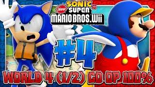 Sonic & Mario in New Super Mario Bros Wii - Co Op 100% - Part 4