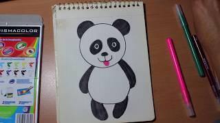 getlinkyoutube.com-Como dibujar un oso panda para niños de preescolar y primaria