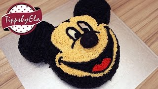 getlinkyoutube.com-Mickey Mouse cake with whipped cream no fondant  How to make - EN subtitle