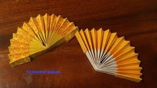 Cara membuat origami kipas tangan kertas