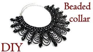 getlinkyoutube.com-DIY: Beaded collar necklace / Ажурный воротник из бисера