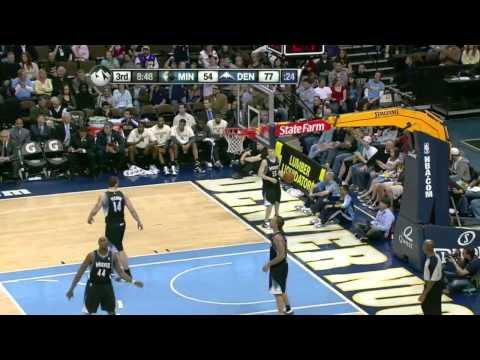 Ty Lawson hits 10 three pointers in a row  vs TImberwolves (Apr 9, 2011)