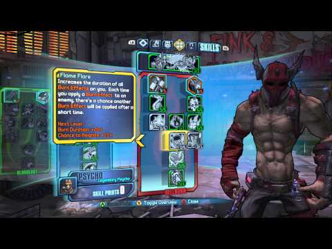 Borderlands 2 - Mania/Hellborn Lv 61 Psycho Build - Fire Fueled Pain Train!