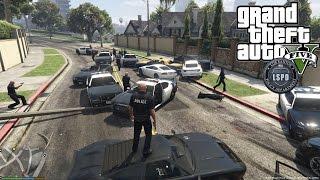 getlinkyoutube.com-GTA 5 PC Police Mod LSPDFR, Crazy Car Chase and more! GTA V