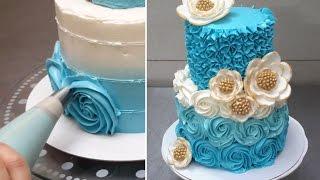 getlinkyoutube.com-How To Make A Rose Swirl Cake - Rosas con crema de mantequilla