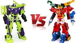 getlinkyoutube.com-Construction Transformers Devastator VS Hello Carbot Hiper Buildian Vehicle Combine Robot Car Toys